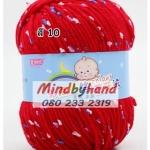 ไหมพรม Baby (ไหมพรมสำหรับเด็ก) มีจุดลาย สี 10 Red