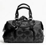 COACH ASHLEY DOTTED OP ART SATCHEL # 20027 สี BLACK