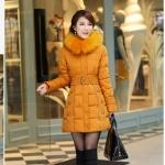 เสื้อกันหนาวตัวยาวไซส์ใหญ่ ผ้าหนา ปกขนเฟอร์ มีฮู้ดขนเฟอร์ สีเหลือง (XL,2XL,3XL,4XL,5XL,6XL)