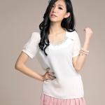 เสื้อชีฟองบางแขนตุ๊กตา คอเสื้อแต่งเพชรสวยงาม สีดำ/สีออฟไวท์ ไซส์ XL 5XL