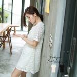 ♡♡pre-order♡♡ ชุดเดรสแฟชั่น ผ้าลูกไม้ทั่วทั้งชุด คอกลม แขนสั้น สวยคลาสสิค น่ารักมากๆ ค่ะ