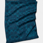 Coach Signature C Long Neck Wrap Scarf # 86011 สี Midnight Navy