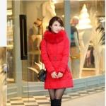 เสื้อกันหนาวตัวยาวไซส์ใหญ่ ผ้าหนา ปกขนเฟอร์ มีฮู้ดขนเฟอร์ สีแดง (XL,2XL,3XL,4XL,5XL,6XL)