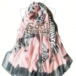 ผ้าพันคอแฟชั่นลายม้าลาย Celeb Zebra : สีชมพู