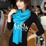 ผ้าพันคอไหมพรม ผ้า cashmere scarf size 180x30 cm - สี sky blue