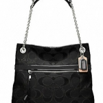 Coach poppy metallic signature sateen slim tote # 21161 สี SILVER / BLACK / BLACK