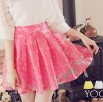 ♥♥ สีชมพูพร้อมส่งค่ะ ♥♥ กระโปรงสั้นลายดอกไม้ สีชมพูลูกกวาดหวานๆ นำเข้าจากเกาหลี ด้านหลังเป็นสม็อกยืดตามขนาดตัวผู้ใส่