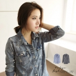 ♡♡pre-order♡♡ เสื้อยีนส์แขนยาวสวยๆ ลายกากบาท (เครื่องหมายบวก) ใส่เป็นเสื้อคลุมหรือว่าเสื้อตัวบนก็น่ารักมากๆ ค่ะ