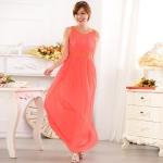 ชุดราตรียาว ผ้าชีฟองตกแต่งด้วยลูกปัด สม็อคเอว สีดำ/สีส้ม/สีแชมเปญ (XL,2XL,3XL)