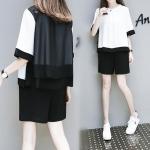 ชุดเซ็ทไซส์ใหญ่ 2 ชิ้น เสื้อชีฟองสีขาวตัดดำ+กางเกงขาสั้นสีดำ (XL,2XL,3XL,4XL,5XL)