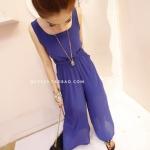 """""""พร้อมส่ง""""เสื้อผ้าแฟชั่นสไตล์เกาหลีราคาถูก จั๊มพ์สูท ขายาว ผ้าชีฟองสีน้ำเงิน พร้อมเข็มขัดผ้าสีทูโทนสีน้ำเงินดำ มีซับในสั้น"""