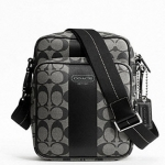 COACH HERITAGE STRIPE FLIGHT BAG # 70589 สี Black