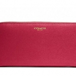 COACH ACCORDION ZIP WALLET IN SAFFIANO LEATHER # 49355 สี Brass/Scarlet