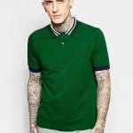 (พรีออเดอร์) Fred Perry Polo Shirt with Bomber Collar Stripe Slim Fit