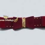 ♥♥พร้อมส่งค่ะ♥♥ เข็มขัดยางยืดโบว์กำมะหยี่สีแดง ตรงหัวเหลี่ยมทอง สวยหรูมากๆ ค่ะ