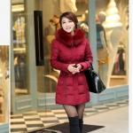 เสื้อกันหนาวตัวยาวไซส์ใหญ่ ผ้าหนา ปกขนเฟอร์ มีฮู้ดขนเฟอร์ สีแดงเลือดหมู (XL,2XL,3XL,4XL,5XL,6XL)