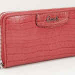 COACH ASHLEY EMBOSSED EXOTIC ZIP AROUND WALLET # 49102 สี Geranium