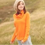 """""""พร้อมส่ง""""เสื้อผ้าแฟชั่นสไตล์เกาหลีราคาถูก Brand Tokyo Fashion เสื้อไหมพรมกันหนาว คอเต่า แขนยาว -สีส้ม"""