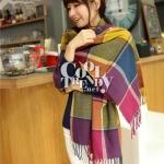 ผ้าพันคอ ผ้าคลุมพัชมีนา Pashmina scarf ลายตาราง size 200x60 cm - สี Mix colors