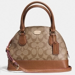 COACH MINI CORA DOMED SATCHEL IN SIGNATURE COATED CANVAS # 34083 สี LIGHT GOLD/KHAKI/SADDLE
