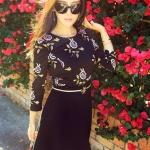 """size M """"พร้อมส่ง""""เสื้อผ้าแฟชั่นสไตล์เกาหลีราคาถูก Brand Vivi Party เดรสเสื้อแขนยาวลายดอกสีดำเนื้อผ้ามัน ซิปหลัง ต่อกระโปรงดำ มีซับใน มีเข็มขัดให้ค่ะ"""