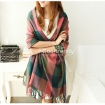 ผ้าพันคอ ผ้าคลุมพัชมีนา Pashmina scarf ลายตาราง size 200x60 cm - สี Dark Green