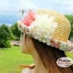 หมวกแฟชั่นทรงขนมเค้ก : คาดดอกไม้ใหญ่ BH0017