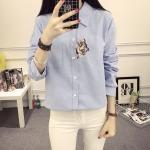 เสื้อเชิ้ตผ้าฝ้ายไซส์ใหญ่ แขนยาว สีขาว/สีชมพู/สีฟ้า (XL,2XL,3XL,4XL,5XL)