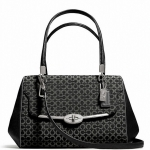 COACH MADISON SMALL MADELINE EAST/WEST SATCHEL IN OP ART NEEDLEPOINT FABRIC # 25215 สี Silver/Black