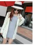 """""""พร้อมส่ง""""เสื้อผ้าแฟชั่นสไตล์เกาหลีราคาถูก เสื้อไหมพรมถักตัวยาว ลายคลื่นแนวตั้ง แขนยาว กระดุมมุก -สีเบจ"""