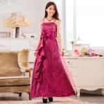 ♥พร้อมส่ง♥ ชุดราตรีซาตินยาว ผ้าตาข่ายประดับเลื่อม สีม่วง (3XL)