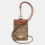 Coach Signature C PVC Canvas Leather Khaki Saddle Lanyard, Badge ID Credit Card Holder # 63274 สี Khaki Saddle