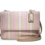 Coach  LEGACY WEEKEND TICKING STRIPE Phone Wallet Crossbody # 64630 สี Khaki Pink