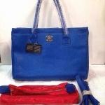 กระเป๋า Chanel  มาใหม่ แบบดาราใช้  งานหนังสวยเนี๊ยบ 14 นิ้ว พร้อมลูกกระเป๋า พร้อมสายสะพาย สีน้ำเงิน