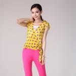 เสื้อชีฟองลายจุด(เย็บหลอกสองชิ้น) สีเหลือง XL 2XL 3XL