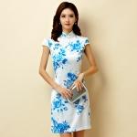 ชุดกี่เพ้าสั้นผ้าซาตินยืดไซส์ใหญ่ คอจีน กระดุมจีน แขนในตัว สีฟ้าลายดอก (XL,2XL,3XL)