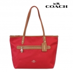 COACH SAWYER TOTE TOP ZIP SHOPPER CANVAS HANDBAG # 37237 สี IM/CLACSSIC RED
