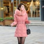 เสื้อกันหนาวตัวยาวไซส์ใหญ่ ผ้าหนา ปกขนเฟอร์ มีฮู้ดขนเฟอร์ สีชมพู (XL,2XL,3XL,4XL,5XL,6XL)