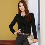 เสื้อชีฟองสีดำ แต่งอกลายกุหลายสามมิติ ไซส์ (XL,2XL)
