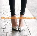 [พร้อมส่ง] รองเท้าส้นสูง  สีเงิน หัวแหลม แบบหรู สวยค่ะ ฮิตมาก 39#