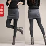กางเกงกระโปรงเลคกิ้ง ผ้ายืด สีเทา/สีม่วงแดง/สีดำ (XL,2XL,3XL,4XL)