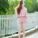 """""""พร้อมส่ง"""" เสื้อผ้าแฟชั่นไทย Set ปักโบว์ ขาสั้น -สีชมพู"""