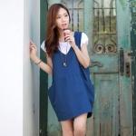 """""""พร้อมส่ง""""เสื้อผ้าแฟชั่นสไตล์เกาหลีราคาถูก Brand Cherry KOKO set 2 ชิ้น เดรสกระโปรงผ้ายีนส์คอวี กระเป๋า 2 ข้าง +เสื้อคอกลมสีขาว แขนจั๊ม น่ารักค่ะ"""