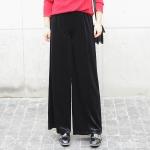 กางเกงculottes สีดำ ผ้ากำมะหยี่ เอวยางยืด (XL,2XL,3XL)