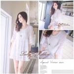 4HH154/443 Soffy Layer Lace Mini Dress มินิเดรสต่อลูกไม้ แขนศอก ผ้า Cotton อย่างดี / ขาว