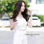 """""""พร้อมส่ง""""เสื้อผ้าแฟชั่นไทย Set เสื้อ ผูกโบว์ + กางเกง (Beauvita) -สีขาว"""