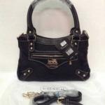 กระเป๋า Coach ผ้าทอ มาใหม่ งานสวย น่ารัก ขนาด 10 นิ้ว มาพร้อมสายยาว สีดำล้วน
