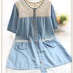 """""""พร้อมส่ง""""เสื้อผ้าแฟชั่นสไตล์ญี่ปุ่นราคาถูก เดรสสีฟ้าอ่อน คอปกถักลูกไม้ ผ่ากระุดุมหน้ายาว กระเป๋าหน้า2ข้าง ชายแต่งผ้าฉลุ ไม่มีซับใน"""