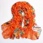 ผ้าพันคอแฟชั่นลายดอกไม้ Blossom : สีส้ม CK0338