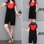 [PRE-ORDER] ชุดเซ็ท 2 ชิ้น เสื้อยืดสีแดง+เอี๊ยมกางเกงขาสั้นสีดำ (XL,2XL,3XL,4XL)